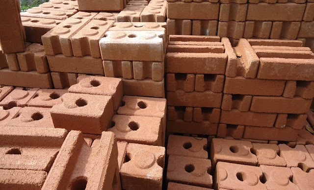 Stack of Compressed Earth Bricks (CEBs)
